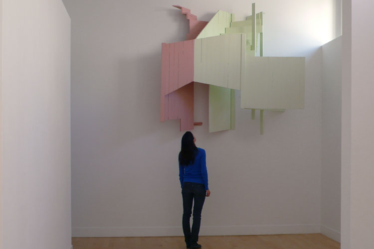 San Francisco Pink and Green, 2008 Wood, paint  80 x 80 x 34 inches