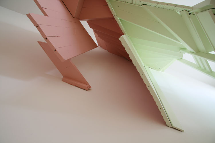 San Francisco Pink and Green, 2008 (from below) Wood, paint  80 x 80 x 34 inches